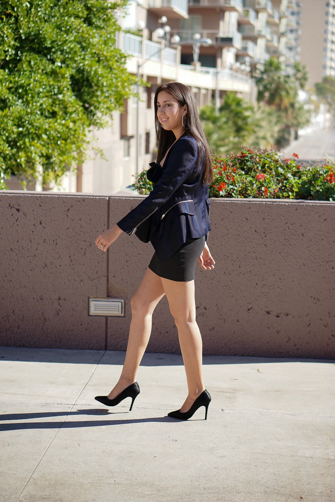 Little Black Dress, Black dress, Shoemint heels, Zara blazer, Blue striped Zara Blazer, Zara, Black heels, Black bow dress, Long Beach CA, Long Beach Performing Art Center, True Honest Fashion, Fashion Blogger, Date Night Outfit