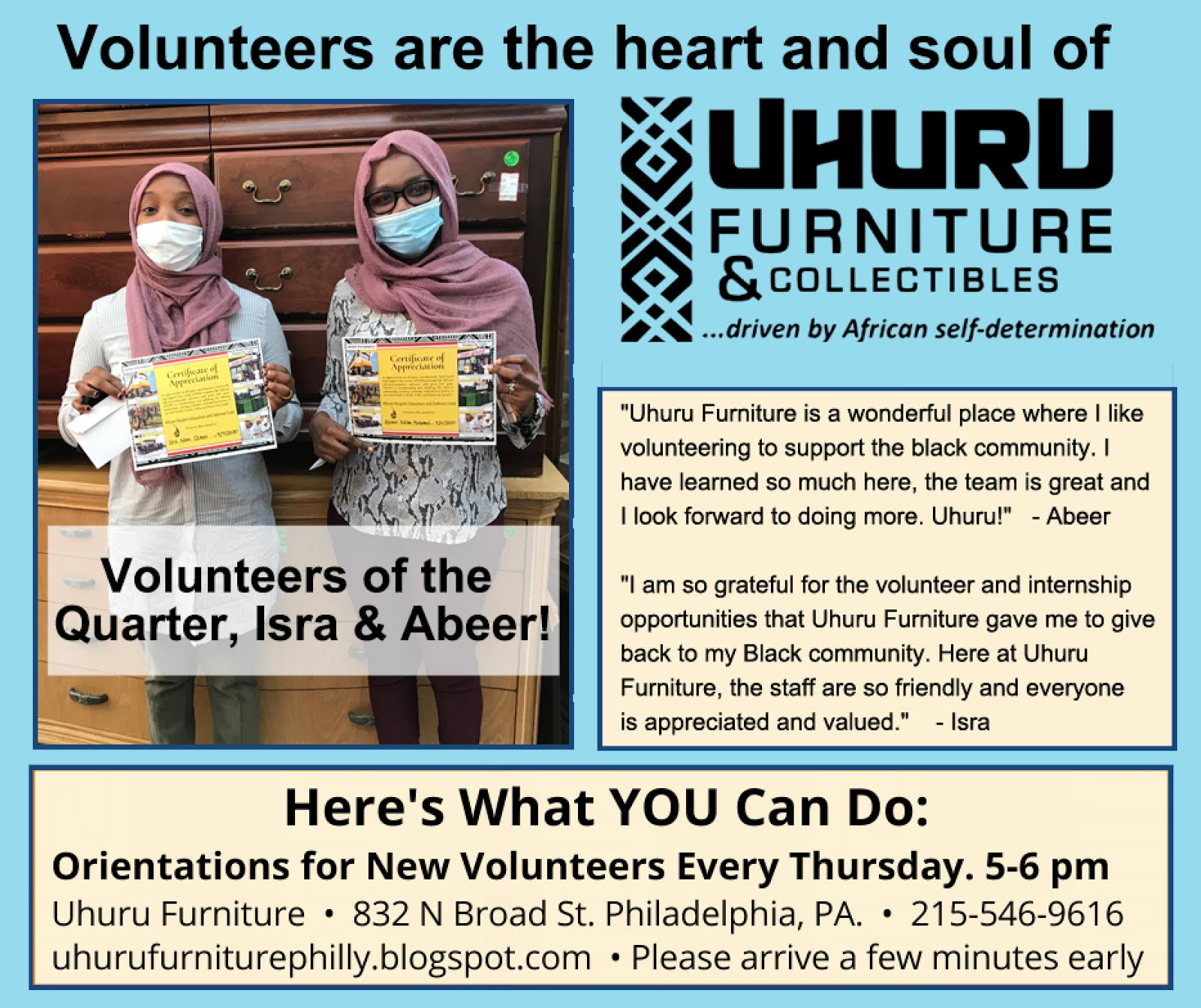 Volunteers Wanted! Orientations for new Volunteers  Every Thursday at 5pm at Uhuru Furniture