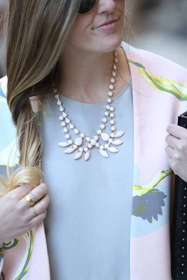 pastel pink statement necklace pink bird print swing jacket
