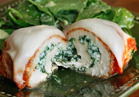Baked chicken breasts rolled with spinach and ricotta topped with ...