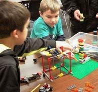 Kids LEGO building at Poolesville