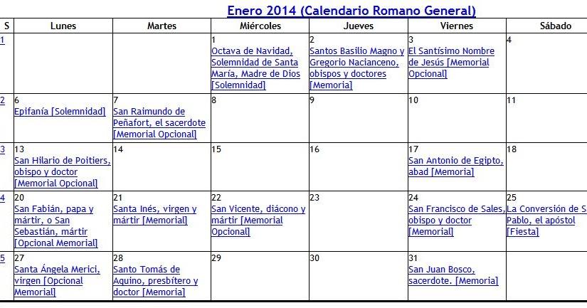 Arquitectura arte sacro y liturgia calendario liturgico 2014 for Arquitectura sacro