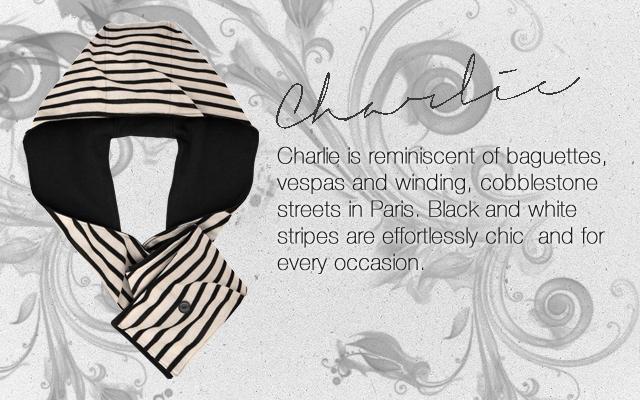 Charlie, stellar hoods, stellar thing, hoodie, hood scarf, hooded scarf, striped, scarf, black and white