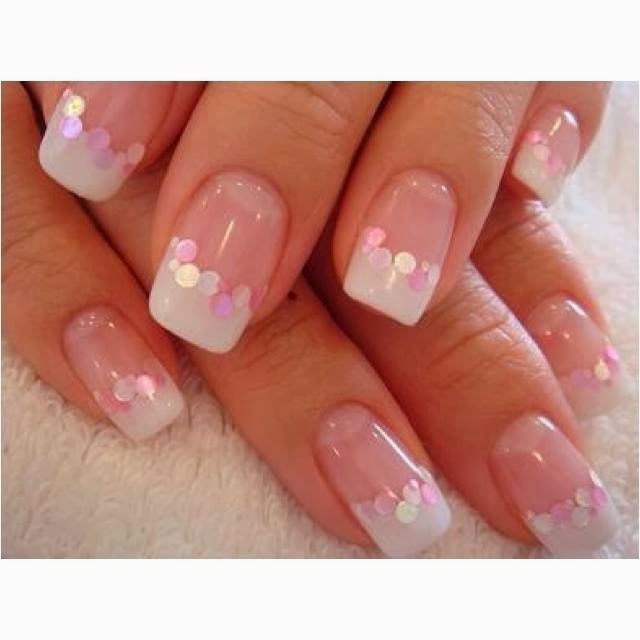 Classic French White Gel Nails LED polish acrylic nail art design images