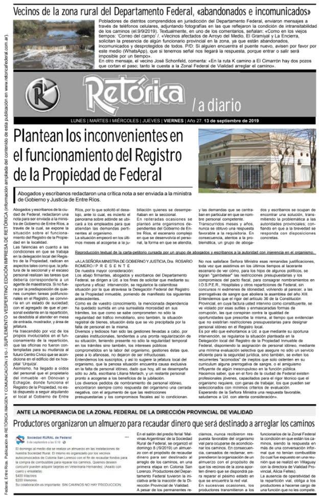 RETÓRICA 13-9-2019 EDICIÓN IMPRESA