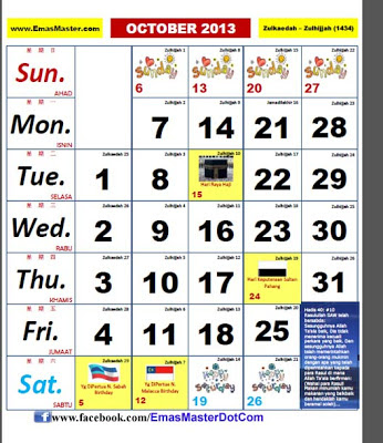 Kalender Malaysia Cuti sekolan Cuti umum kalendar kuda 2013 Enam Bulan