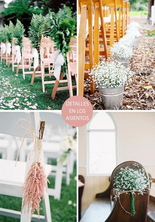 Asientos decorados con flores secas