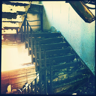 Burned out stairs in hospital haikyo