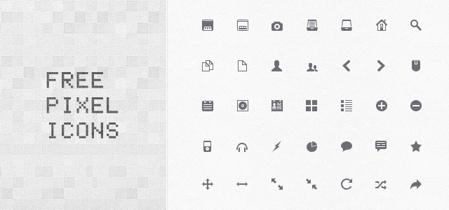 シンプルなピクセルアイコンいろいろ。WEBサイトなどのインターフェースデザインに。