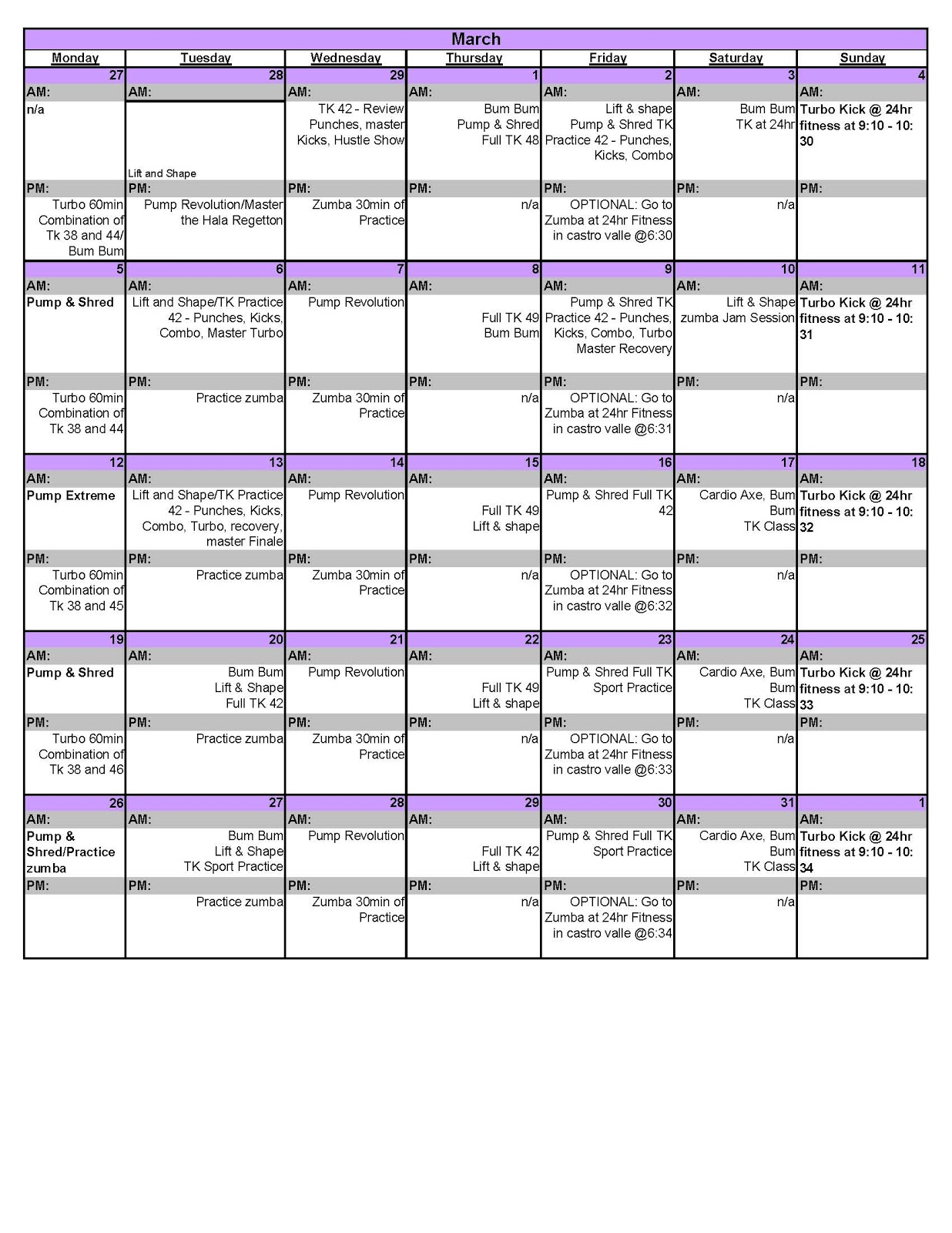 Advanced Turbo Jam Workout Schedule http://carmearroyo.blogspot.com ...