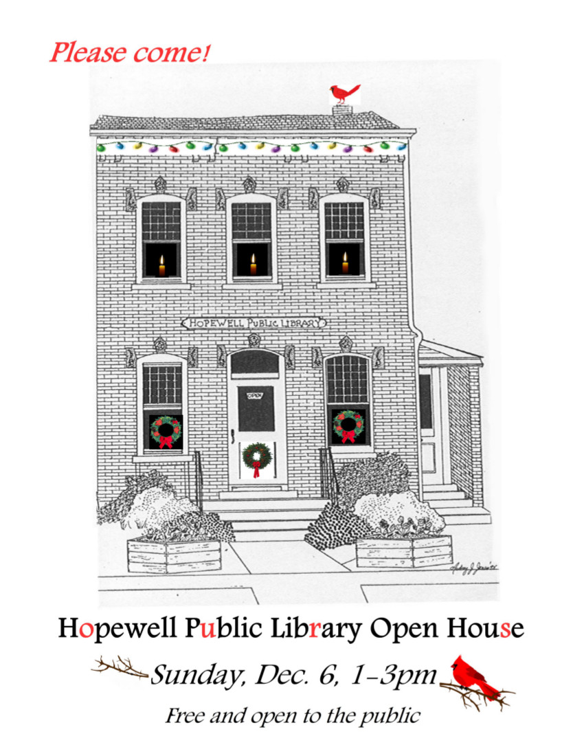 HPL Holiday Open House Sunday               1-3pm Dec. 6, 2015