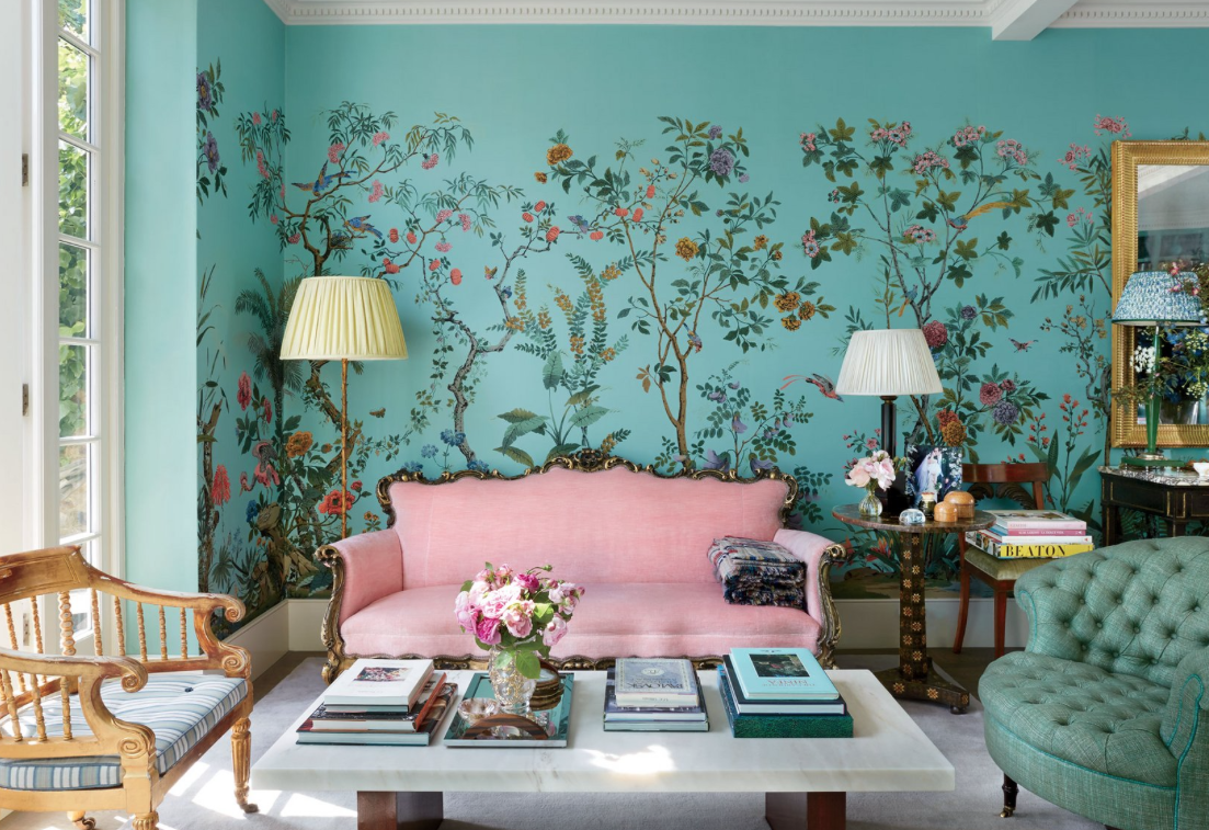 Decor inspiration a look inside caroline sieber s london for Fashion wallpaper for bedrooms