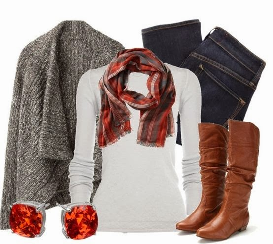 Grey woollen shawl, white sweater, scarf, jeans and long boots for winters dress collection