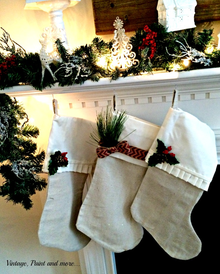 Vintage, Paint and more... Christmas stockings made from drop cloth and sheets embellished with burlap ribbon and greenery