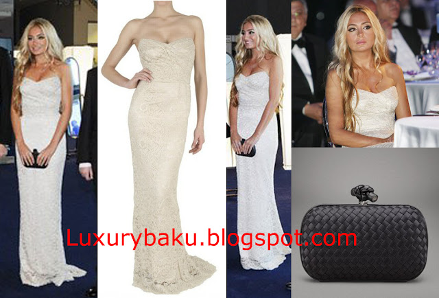 Arzu Aliyeva in White Lace Dolce&Gabbana Dress