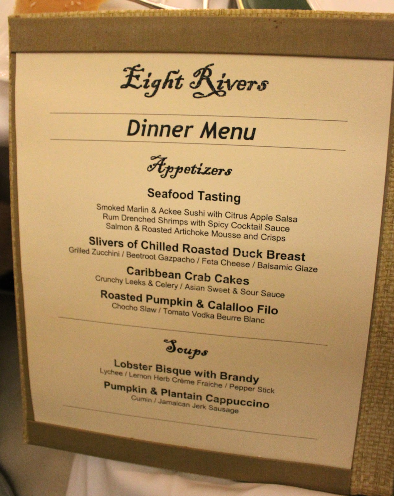 Two eat philly couples tower isle eight rivers restaurant for Ideas for dinner menu