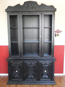 Black Shabby Chic China Cabinet  *SOLD*