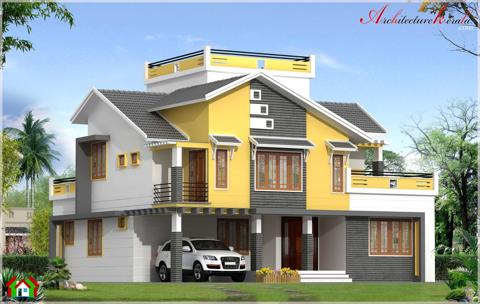 2500 square feet contemporary duplex home elevation - Exterior paint calculator square feet model ...