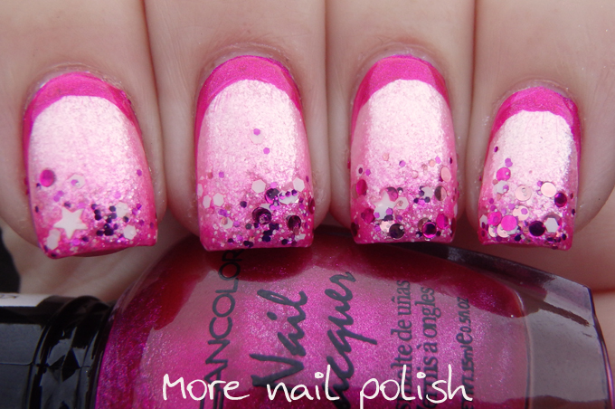 Metallic Pink Ruffian With Glitter Tips More Nail Polish