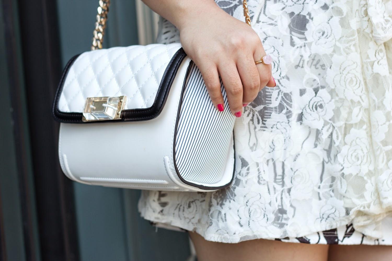 Zara-Black-and-white-cross-shoulder-bag, lace-cardigan-as-skirt