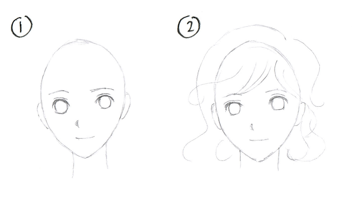 Step by step how to draw manga hair curly