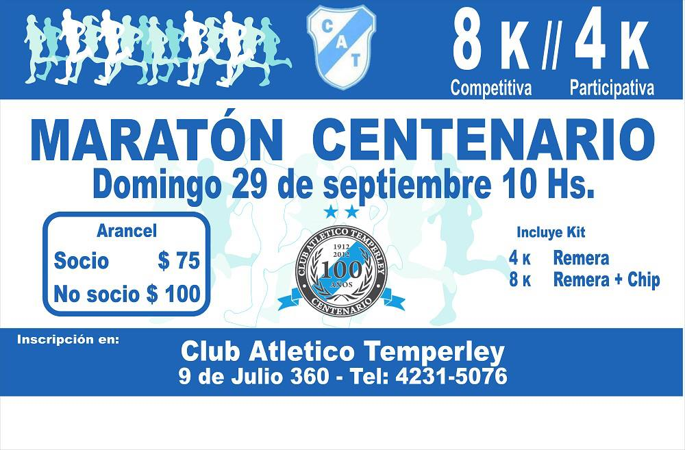 Volantes de carreras centenario club atletico temperley for Gimnasio 9 de julio temperley