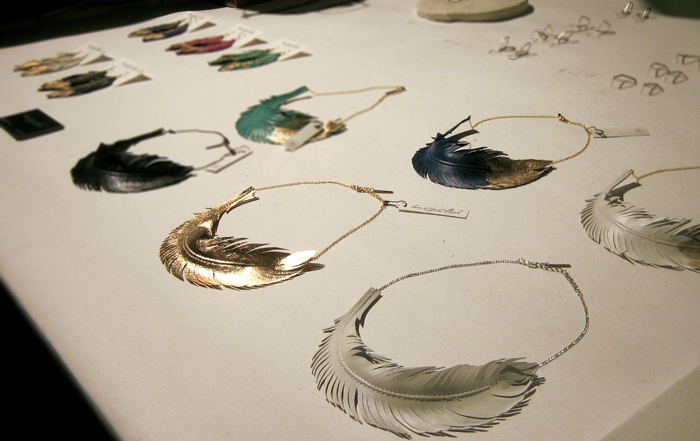 love at first blush leather feather necklaces