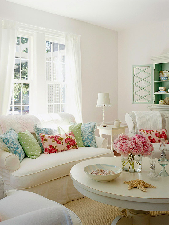 decoracao mesa branca:White Shabby Chic Living Room