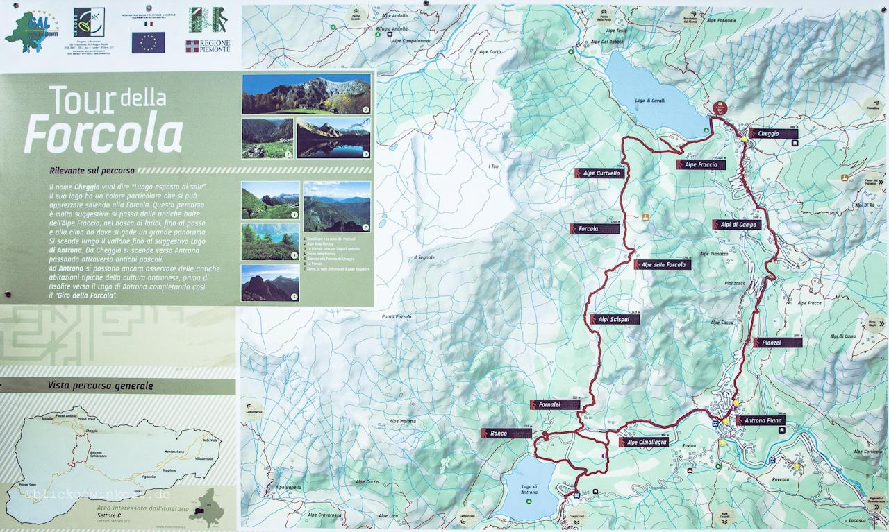 Tour della Forcola, Wandern im Piemont