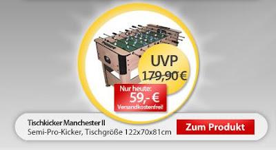 Tischkicker Manchester II bei MeinPaket für 59 Euro inklusive Versandkosten