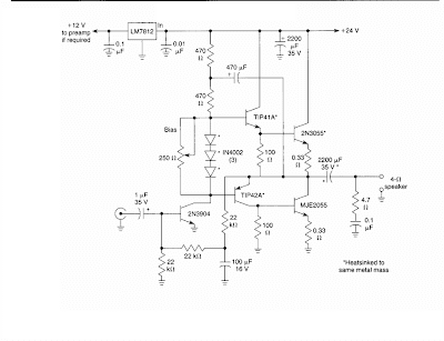 10 W Audio Amplifier Circuit Diagram