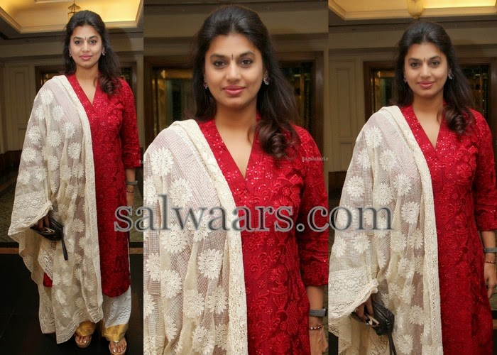 Pinky Reddy Thread Work Red Chruidar