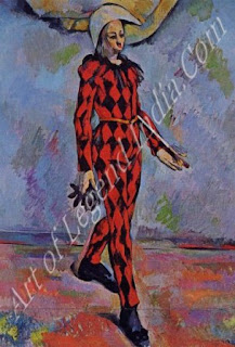 Harlequin (1888-90) Cezanne's son Paul modelled for this painting, but his features have been simplified beyond recognition into a haunting image of the lonely clown.