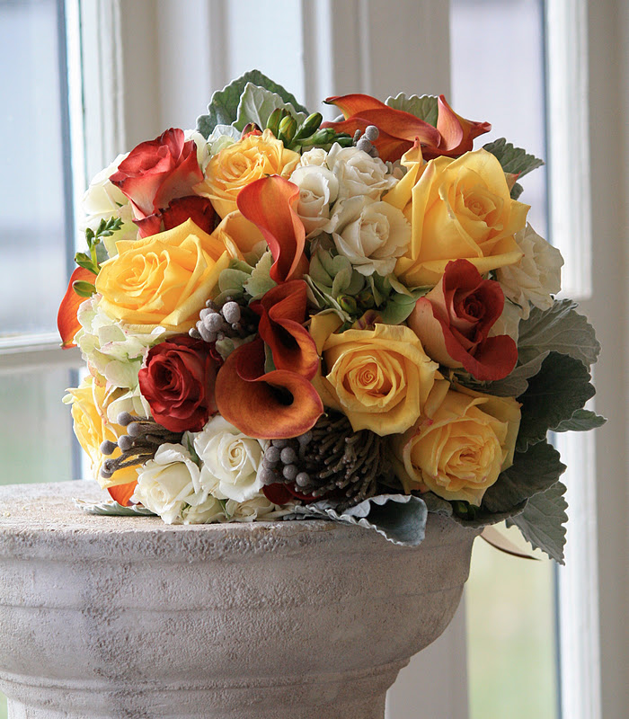 Fall Wedding Bride's Bouquet - Yellow roses, orange calla lilies, orange roses, brunia berries, Rose Bridal Bouquet, Rose Bouqet, Wedding Bouquet - Splendid Stems Wedding Flowers - Wedding Florist