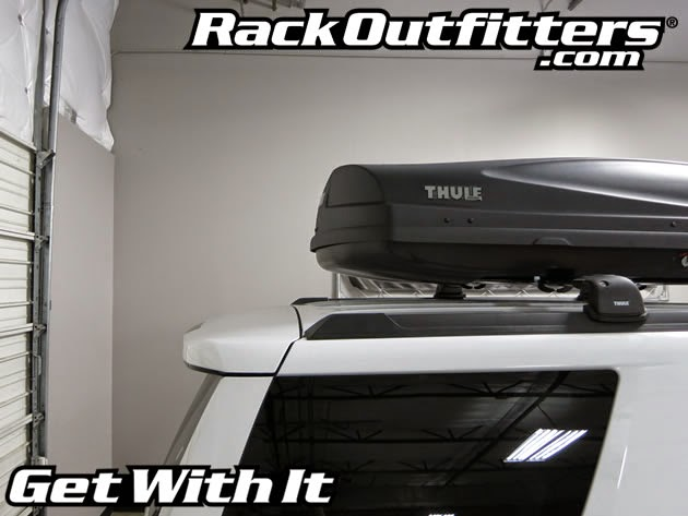 2015 Chevrolet Tahoe Thule Black AeroBlade Base Roof Rack with Thule Force XL Cargo Box - Rack
