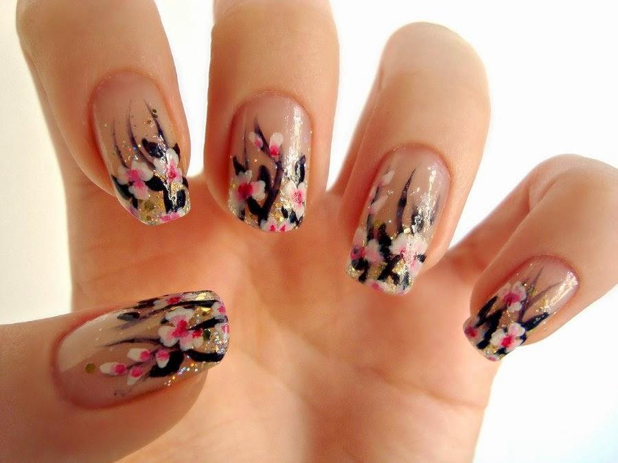 Pink Flower Nail Art|http://refreshrose.blogspot.com/
