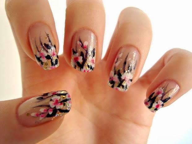 pink flower nail art http