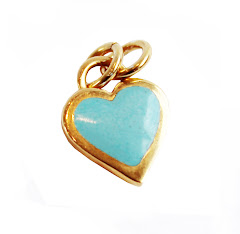 Something blue, gold & blue enamel heart