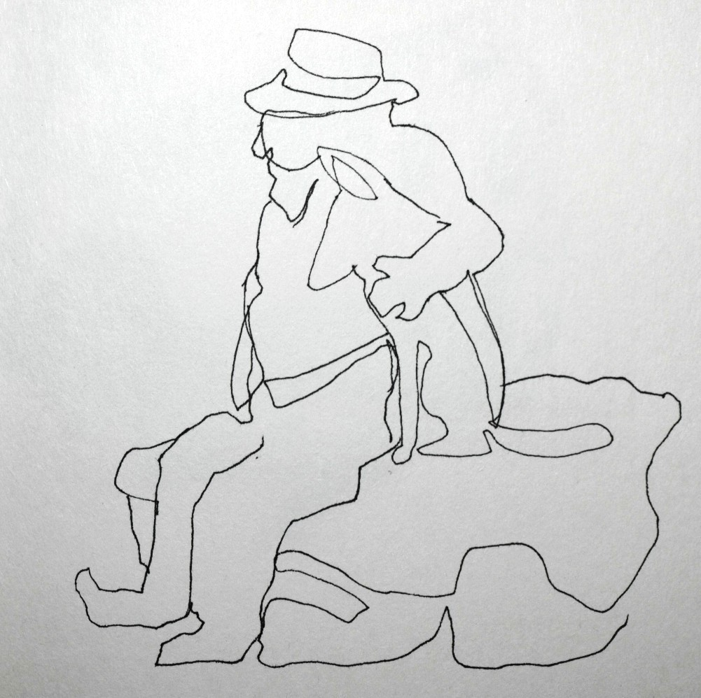 Contour Line Drawing In Art : Artiqueryrose old man with dog contour line drawing