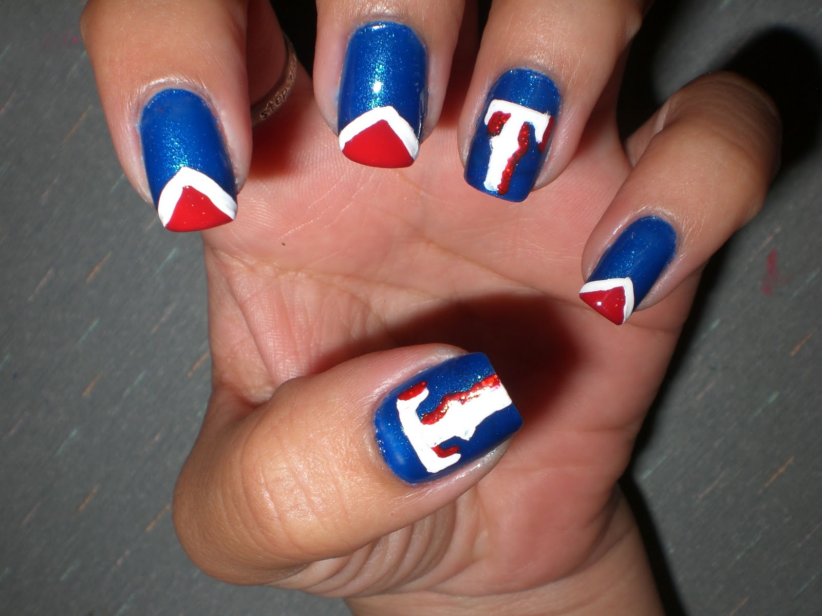I Decided To Do The T Logo As Accents And Then Nora Settled On A Triangle French Tip For Other Nails