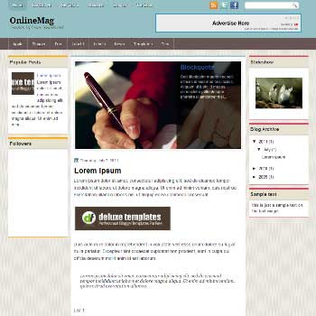 OnlineMag blogger template. magazine style blogger template with images lider content