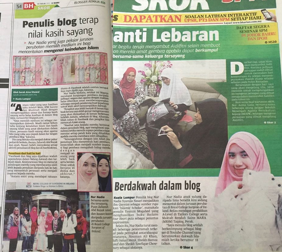 Blog in newspaper.