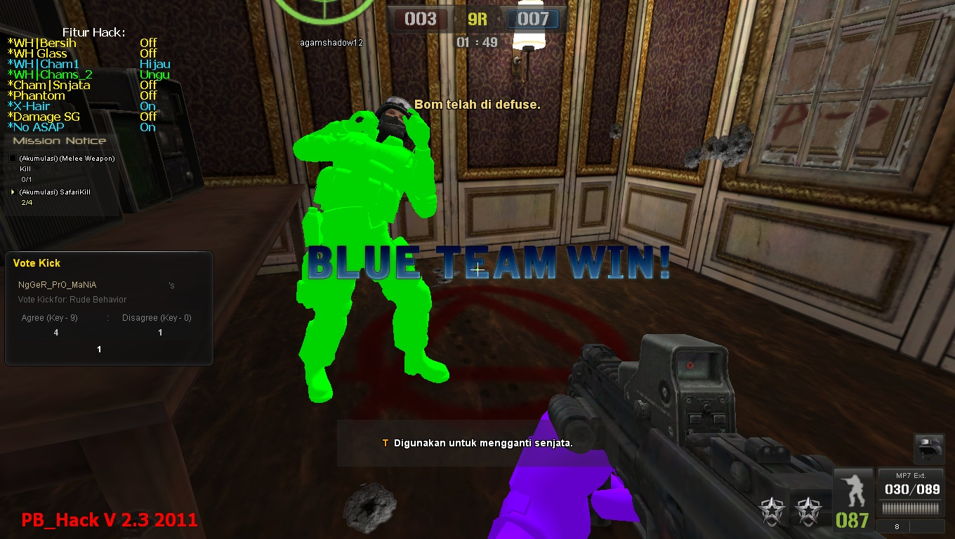 Cheat point blank PB_Hack V 2.3 Special Wallhack 18 Warna + X - Hair