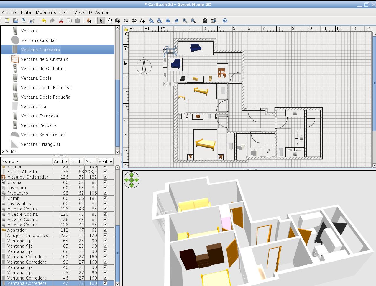 Dise o y cad en linux sweet home 3d dise o de interiores for Programa diseno interiores 3d gratis