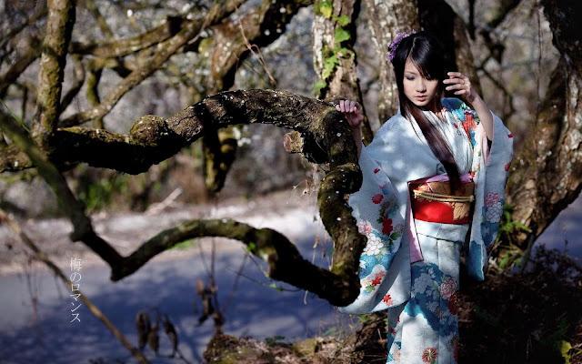 Hermosa Chica con un Kimono Japones Mujeres japones