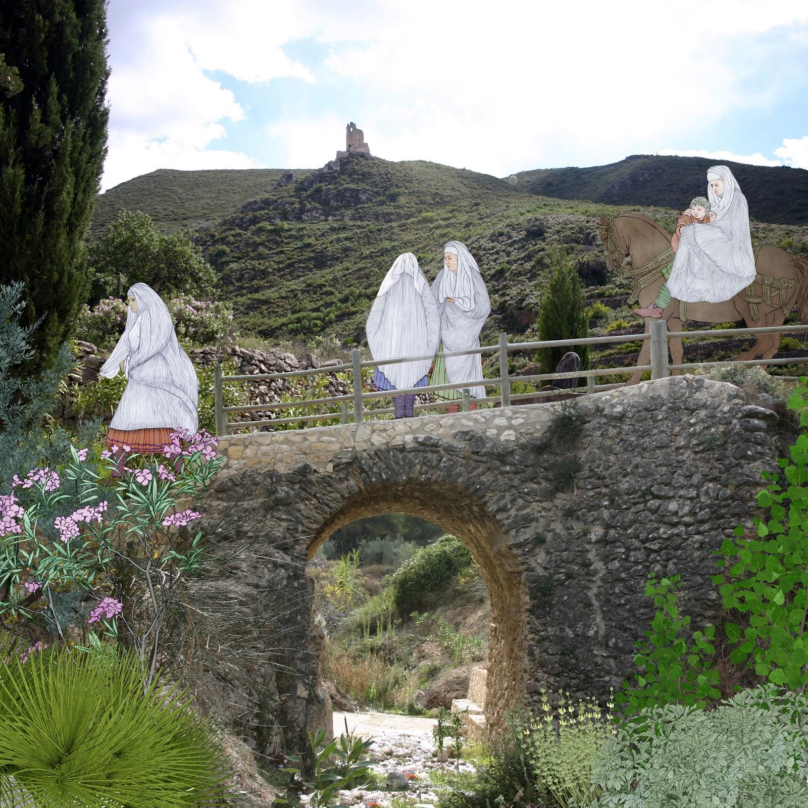 Vall de Albaida, puente de los moros, moriscos, dibujo