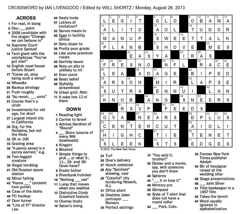 Tv and movie lovers crossword puzzles