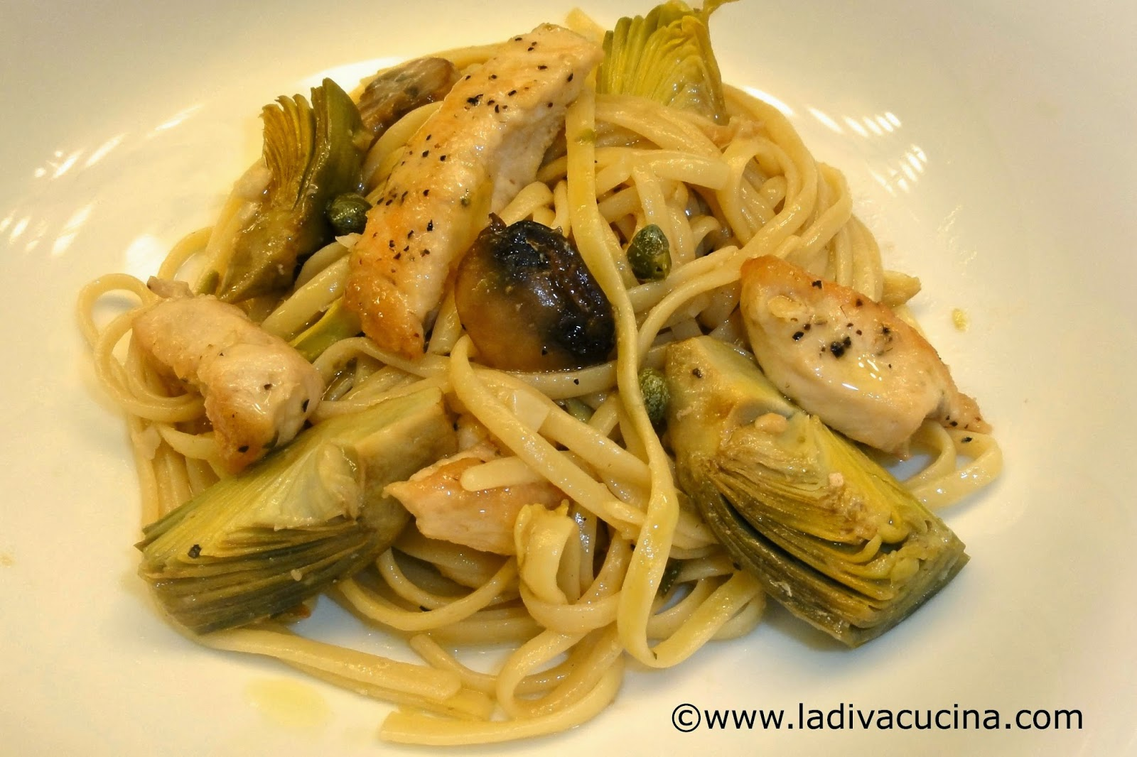 Baby artichoke sauteed with chicken breast, mushrooms, garlic, lemon ...