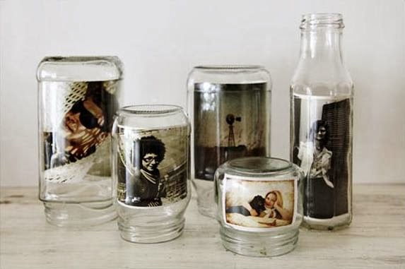 Portarretratos hechos con frascos tarros y botellas de - Como poner bloques de vidrio ...