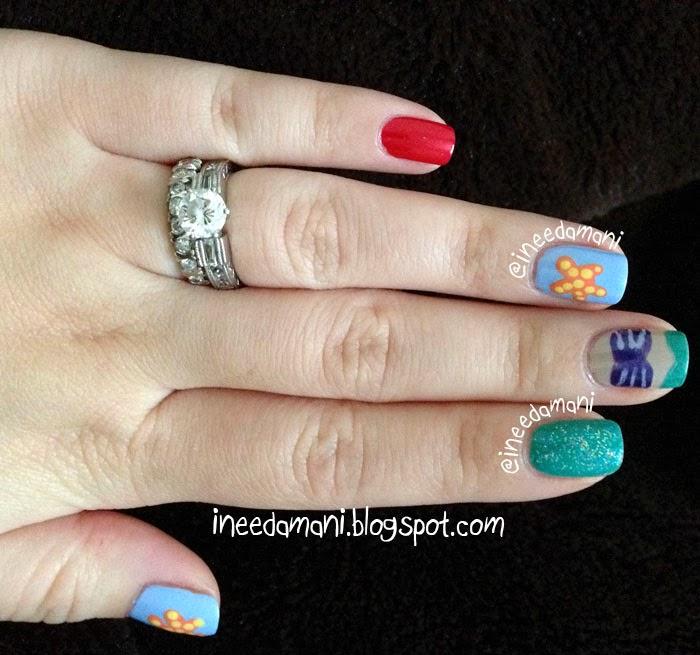 disney little mermaid nail art
